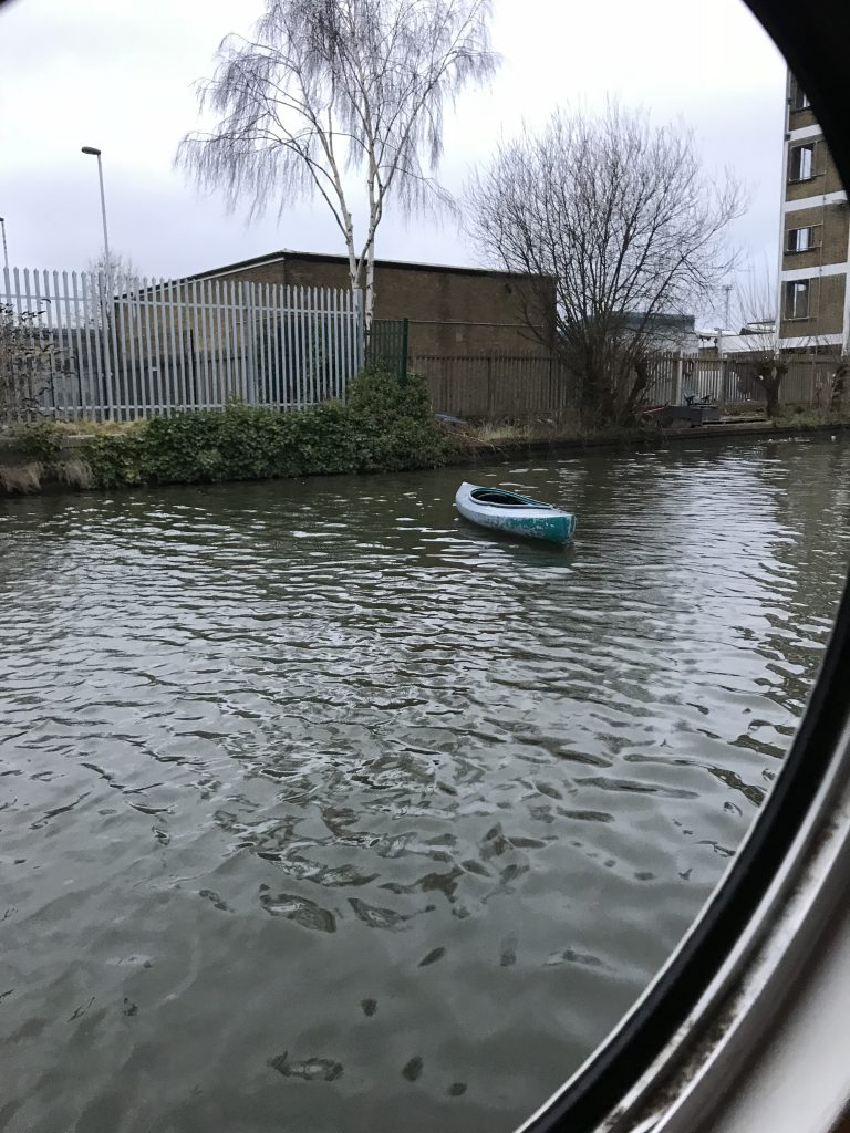 Kayak drifting on the canal